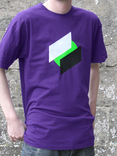 Two Point O [ANTIFA / DIRECT-ACTION] - t-shirt - white, black, neon green on purple // Photo 1