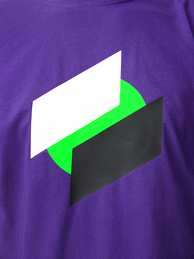 Two Point O [ANTIFA / DIRECT-ACTION] - t-shirt - white, black, neon green on purple // Photo 2