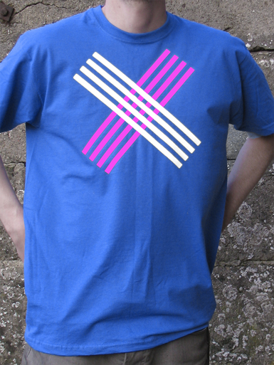 Disobey [CIVIL-DISOBEDIENCE] - t-shirt - white, neon pink on royal blue // Photo 1