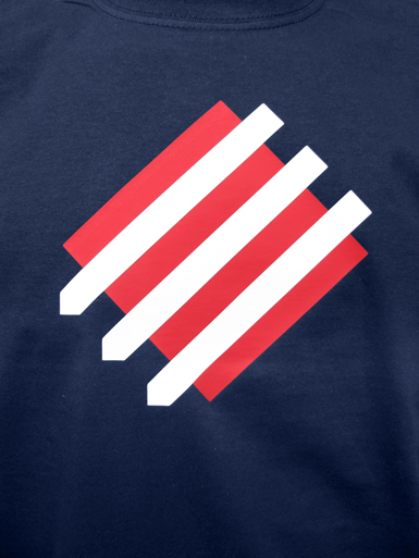 Squared Circle [DREIPFEIL / ANTIFASCIST-QUADER] - t-shirt - white, red on navy // Photo 2