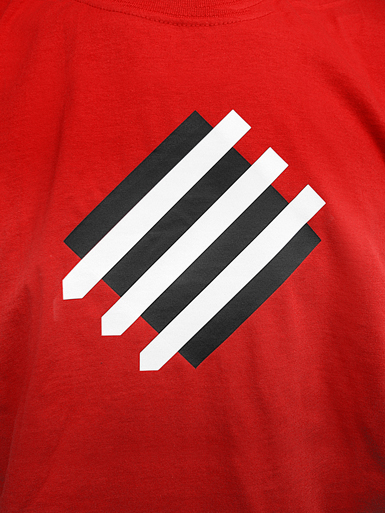 Squared Circle [DREIPFEIL / ANTIFASCIST-QUADER] - t-shirt - white, black on red // Photo 2