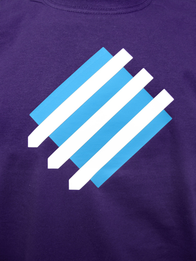 Squared Circle [DREIPFEIL / ANTIFASCIST-QUADER] - t-shirt - white, cyan on purple // Photo 2