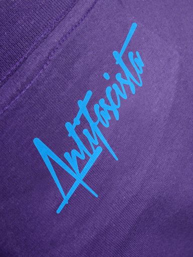 Squared Circle [DREIPFEIL / ANTIFASCIST-QUADER] - t-shirt - white, cyan on purple // Photo 3