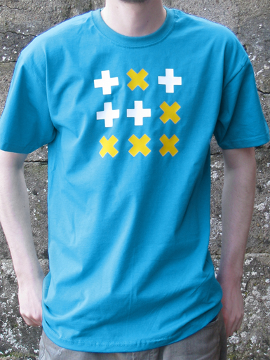 Digital Native [HACKTIVIST / GLIDER] - t-shirt - yellow, white on azure blue // Photo 1
