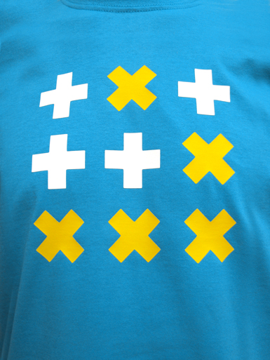 Digital Native [HACKTIVIST / GLIDER] - t-shirt - yellow, white on azure blue // Photo 2