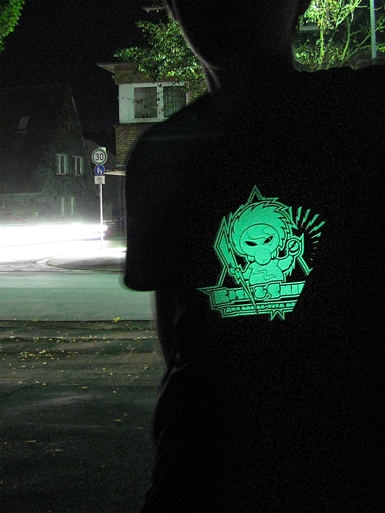 Rise & Shine [MISSION-PATCH] - t-shirt - luminous white on black [glow in the dark] // Photo 1