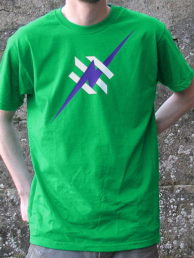 Daily Hero [NEEMT / OCCUPY / SQUATTING] - t-shirt - purple, white on kelly green // Photo 1