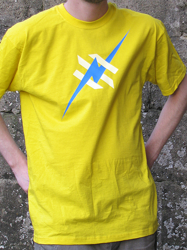 Daily Hero [NEEMT / OCCUPY / SQUATTING] - t-shirt - cyan, white on yellow // Photo 1
