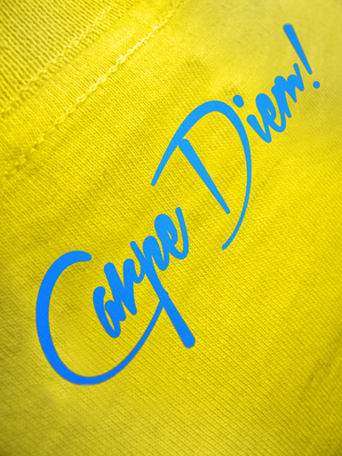 Daily Hero [NEEMT / OCCUPY / SQUATTING] - t-shirt - cyan, white on yellow // Photo 3