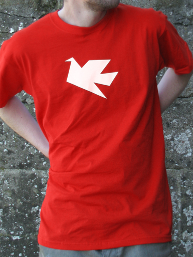 Peace Dove [PACIFIST] - t-shirt - white on red // Photo 1
