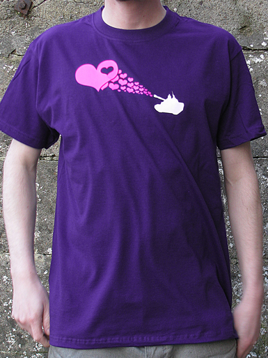 Love Army [PEACE-SOLDIER] - t-shirt - neon pink, white on purple // Photo 1