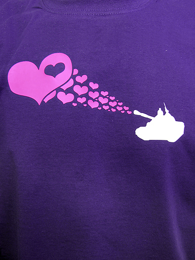 Love Army [PEACE-SOLDIER] - t-shirt - neon pink, white on purple // Photo 2