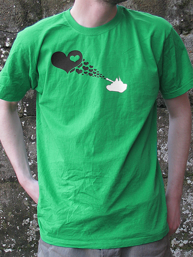 Love Army [PEACE-SOLDIER] - t-shirt - black, white on kelly green // Photo 1