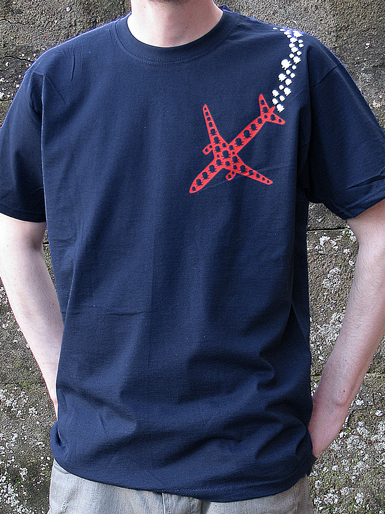 Psychoplane [TERROR-IN-THE-SKY] - t-shirt - red, white on navy // Photo 1