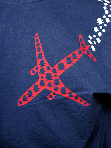 Psychoplane [TERROR-IN-THE-SKY] - t-shirt - red, white on navy // Photo 2
