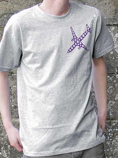 Psychoplane [TERROR-IN-THE-SKY] - t-shirt - purple, white on heather grey // Photo 1