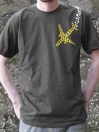 Psychoplane [TERROR-IN-THE-SKY] - t-shirt - yellow, white on charcoal // Photo 1